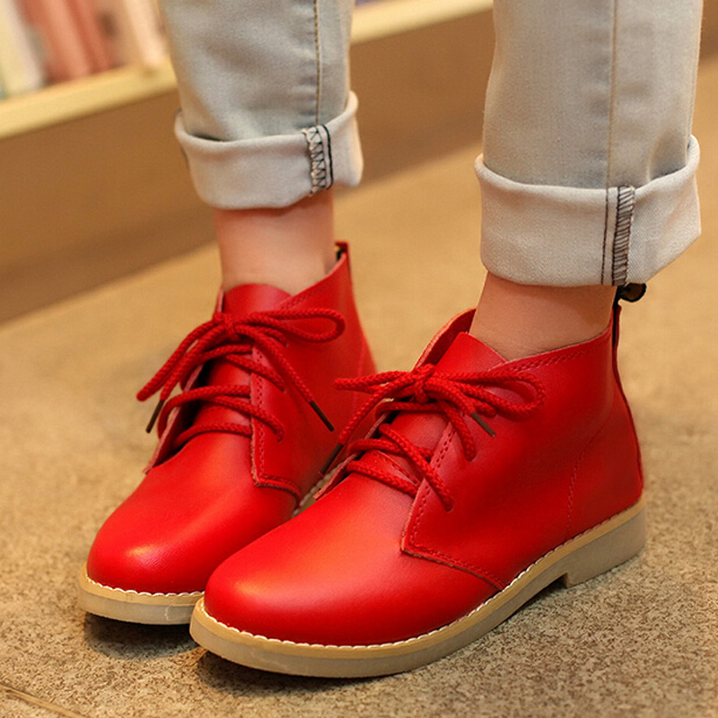 Women boots 2016 new autumn women ankle boots Genuine leather martin boots platform flat with fashion casual shoes woman(China (Mainland))