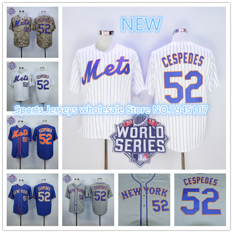 Mets #52 Yoenis Cespedes Blue Alternate Home Cool Base W/2015 World Series Patch Stitched Baseball Jersey<br><br>Aliexpress