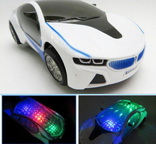 New 3D Flashing Electric Car toy with Lights, and Sound ,goes around and changes directions on contact (China (Mainland))