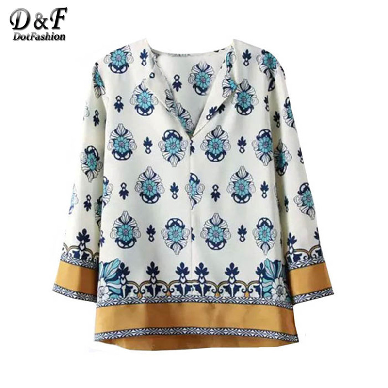 Summer 2015 Ladies White Long Sleeve Floral Printed Loose Tops Korean Style High Street V Neck Fashion Blouse(China (Mainland))