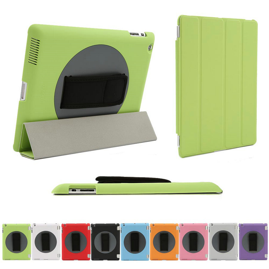 For Apple iPad 2 3 4 PC Hard Cover Combo 360 Rotating Stand Smart Case with Adjust Strip Belt Free Stylus(China (Mainland))