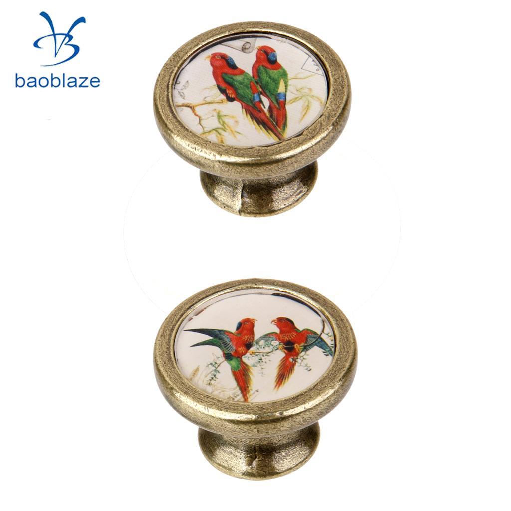 2 Pieces Antique Brass Cabinet Drawer Round Pulls Wardrobe Cabinet Door Cupboard Knob Handle Colorful Birds Pattern