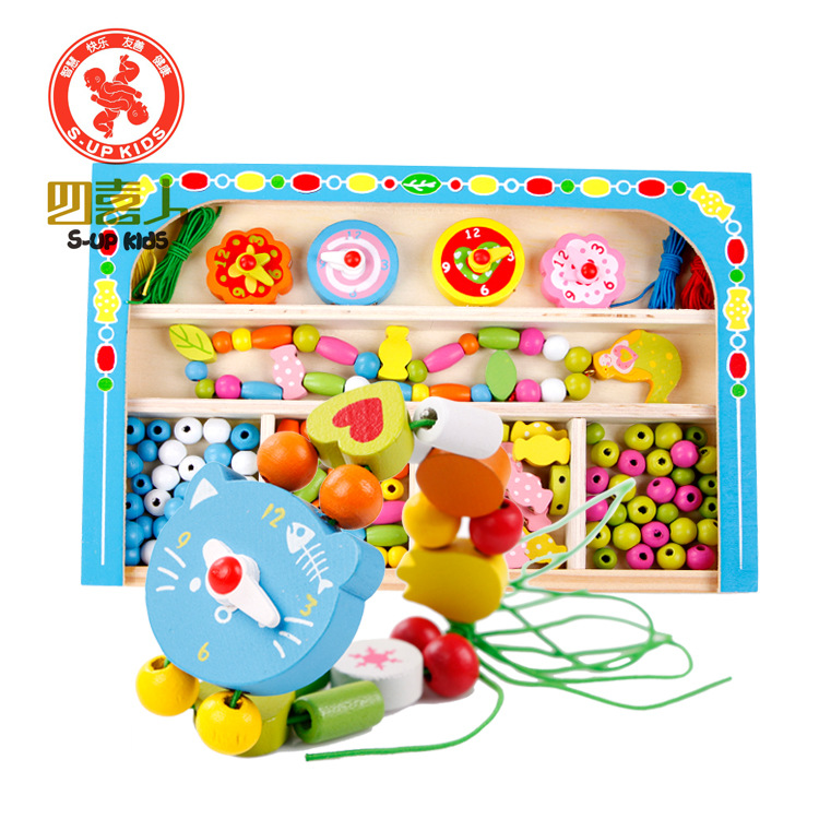 Educational Soft Montessori wooden toys for children DIY Jewelery Making Utilities cartoon wooden beaded Threading training