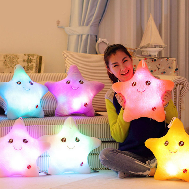 Colorful Star Glow LED Luminous Light Cushion Lovely Soft Relax Gift Smile Stars Flashing Cushions Free Shipping CA1T(China (Mainland))
