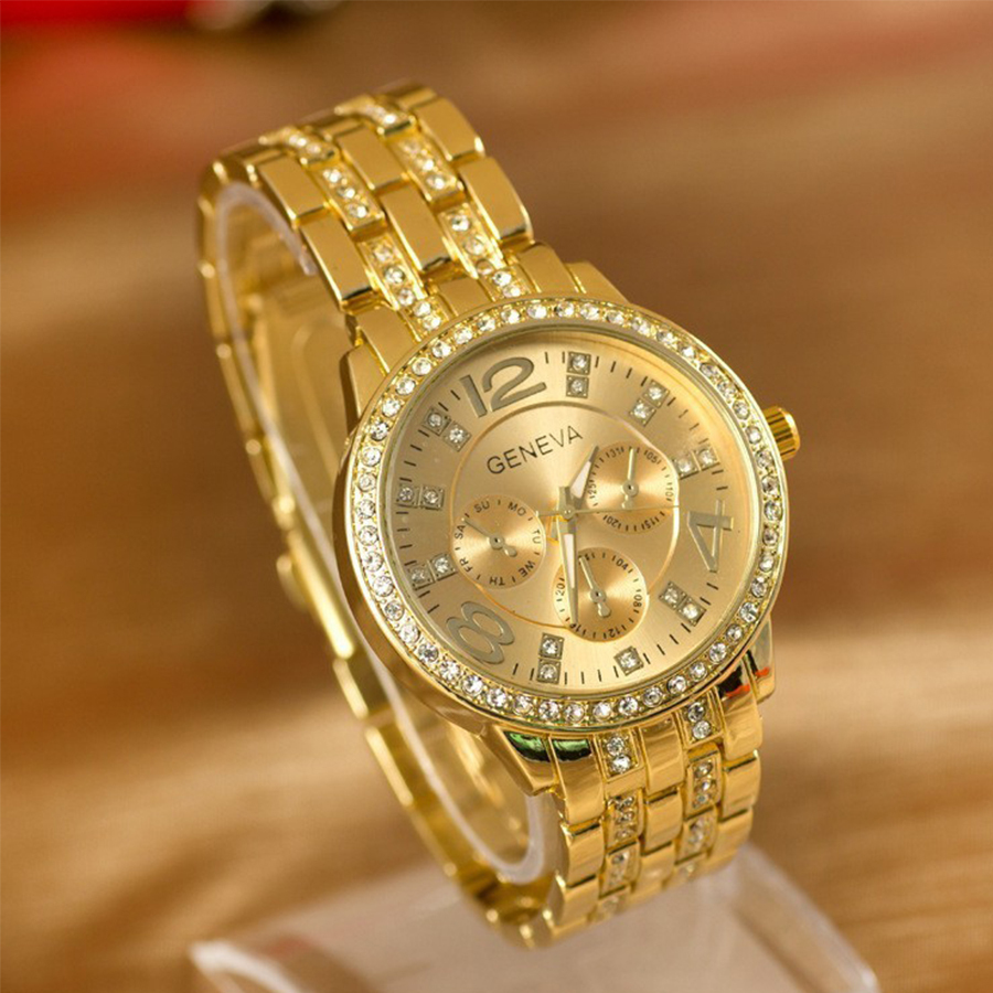 2015 Geneva Watch Full Steel watches women luxury brand Women Rhinestone Ladies Casual Analog Quartz wristwatches - Mia shop store