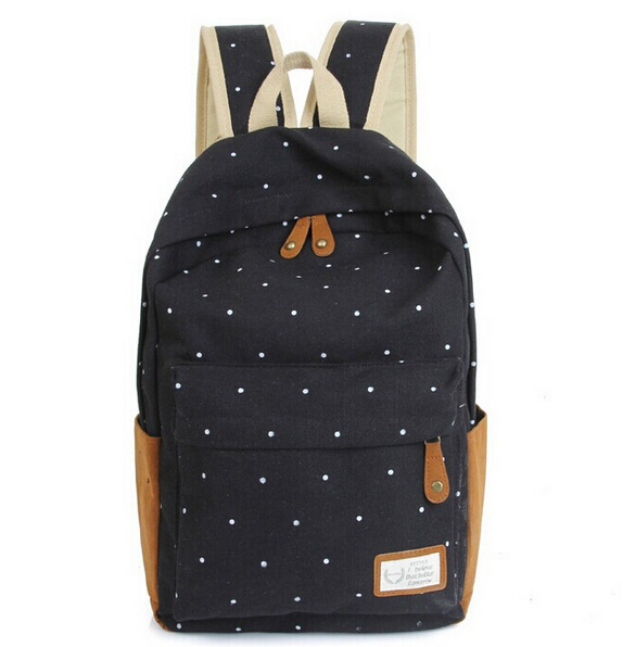12 color Cute Korean style double-Shoulder book Bags fashion girls women canvas Dots school bag middle school students backpacks(China (Mainland))