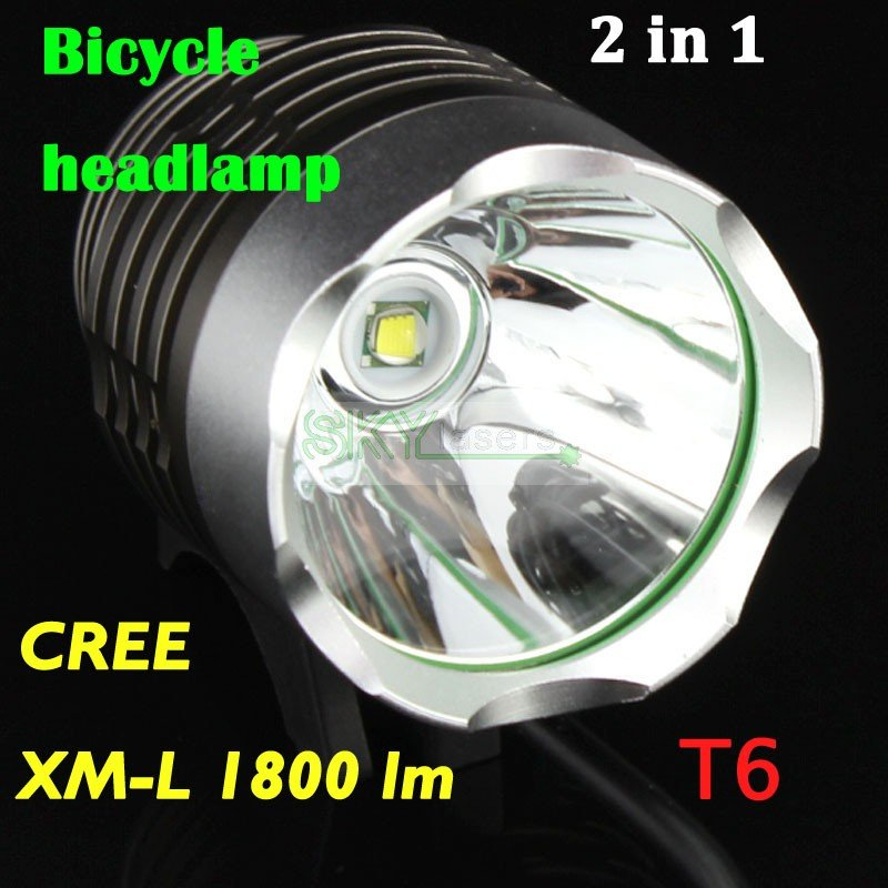 1800 Lumen CREE XM-L T6 LED Bicycle bike Headlamp HeadLight Lamp Flashlight Light With 6400mAh 8.4v battery & Charger(China (Mainland))