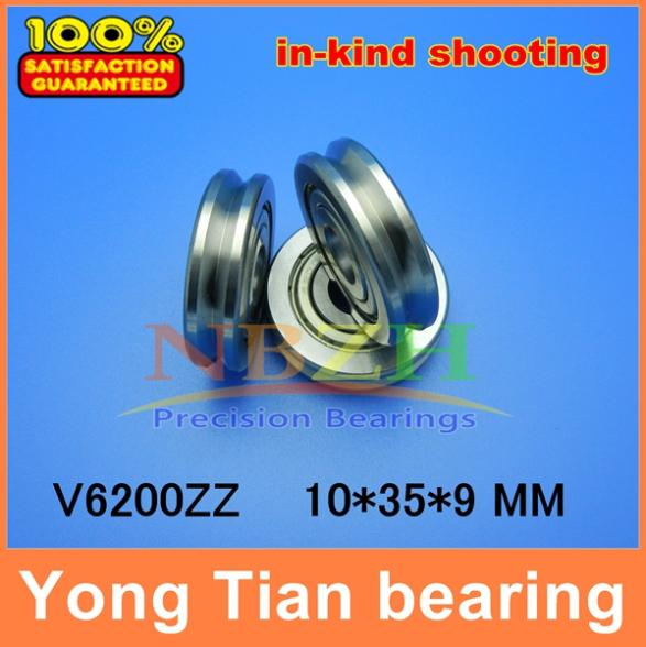 Outer ring V grooved straightener guide wheel bearings A1002ZZ V6200ZZ V90 10*35*9 mm pulley bearings V groove width 4.2 mm(China (Mainland))