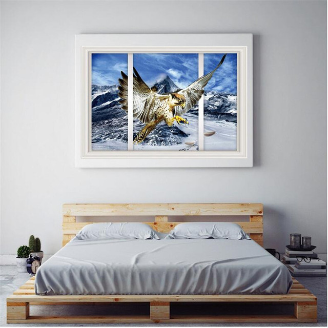 2016 New 3d Snow Mountain Eagle Wall Stickers Bedroom