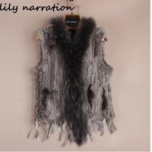 eastern Ladies Genuine Knitted Rabbit Fur Vest Raccoon Fur Trimming Tassels Women Fur Natural Waistcoat Lady Gilet colete pele(China (Mainland))