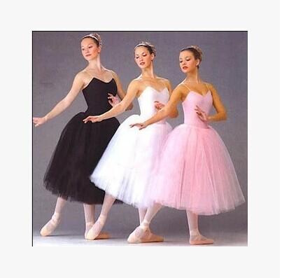 Adult Romantic Ballet Tutu Rehearsal Practice Skirt Swan Costume for Women Long Tulle Dress White pink black color(China (Mainland))