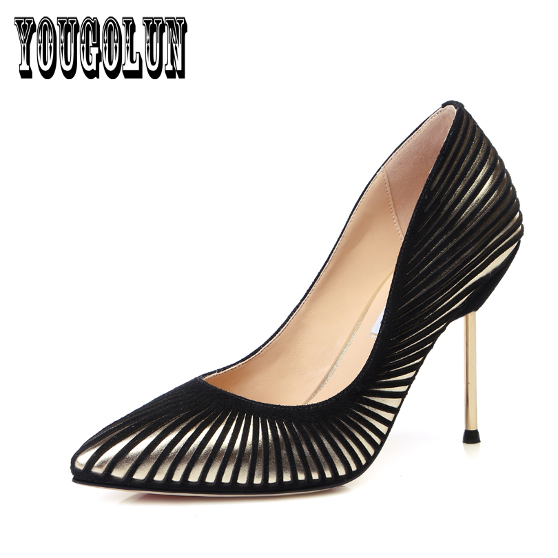 sheepskin genuine leather black red Thin high heels pointed toe women shoes,2016 woman summer Pumps fashion Ladies Party shoes<br><br>Aliexpress