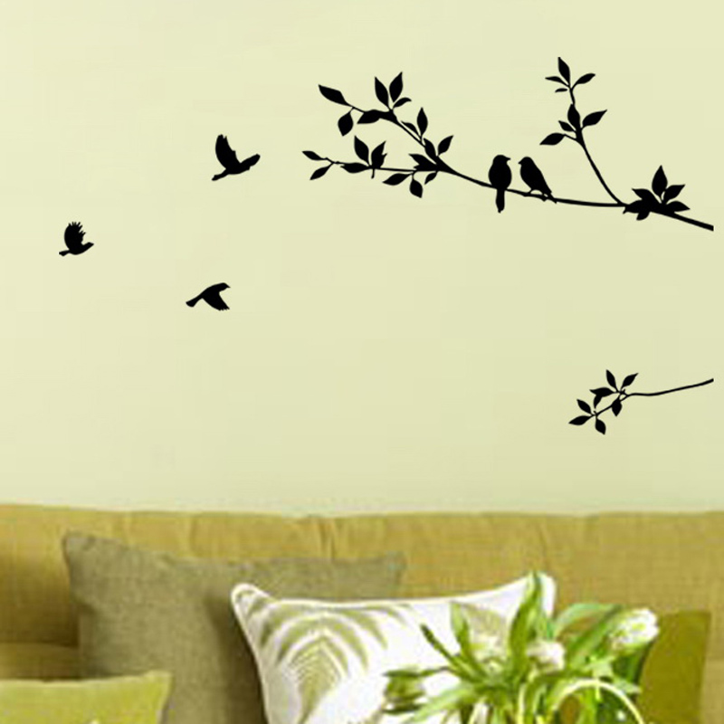 Birds on Branches Tree wall Sticker Decals Decorative Sticker Removable Vinyl Bird Wall Stickers for Kids Rooms Home Decal(China (Mainland))