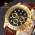 OUYAWEI Mechanical Watch Relogio Masculino Top Quality Luxury Brand Men Military Sport Automatic Watch Leather Men