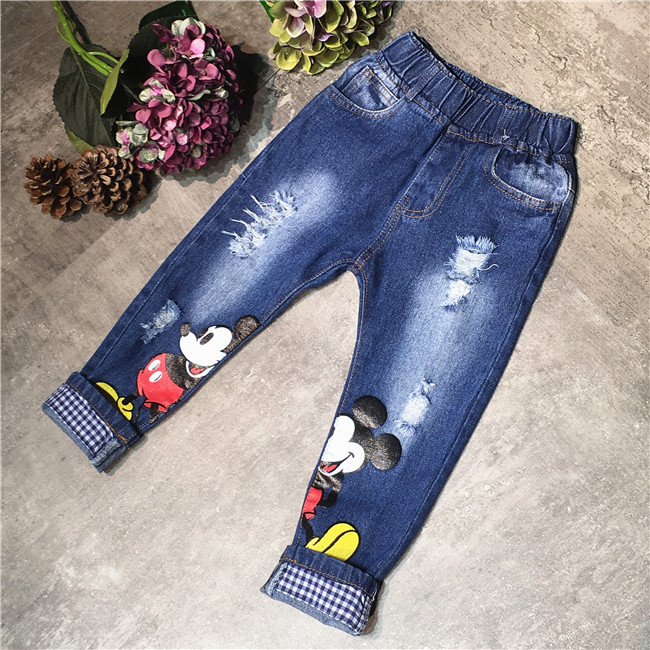 2016 Spring/Autumn Children Jeans Clothes Baby Boys Girls Pants Cartoon Pattern Hole Cotton Denim Jeans Kids Casual Trousers