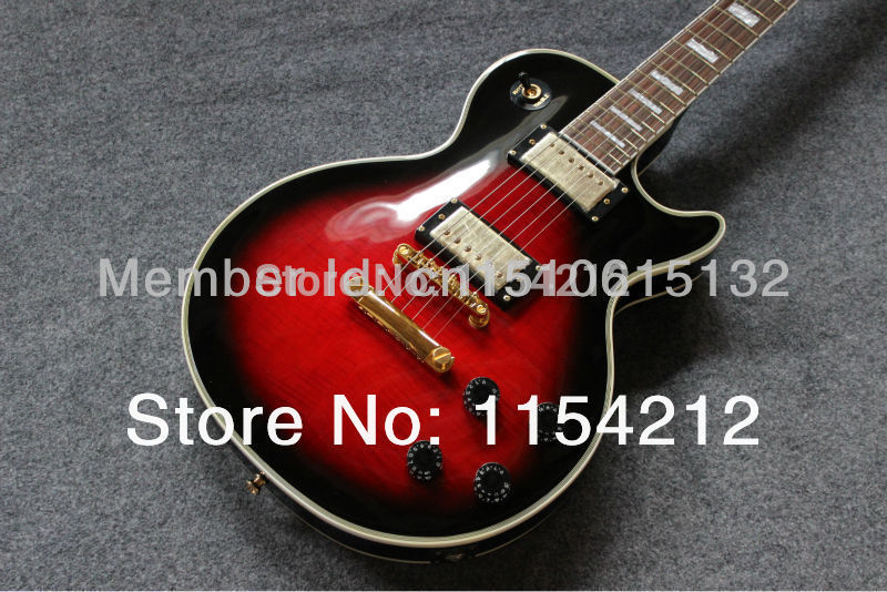 custom shop electric guitar 1959 electric guitar black and red color ebony fretboard ace guitar(China (Mainland))