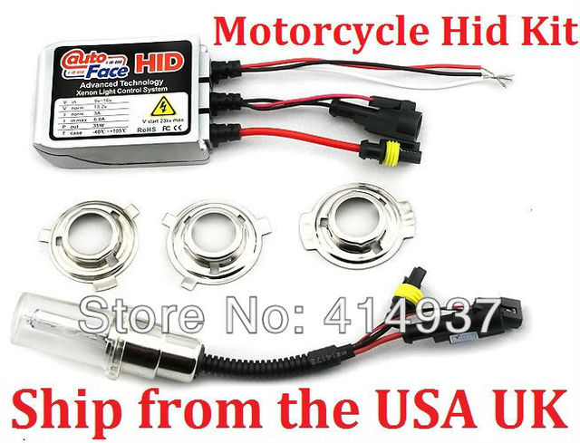 Hid Kit Slim Ballasts For Motorcycle Bi-Xenon Bulbs H6 Color Temperature 6000K Waterproof Hid Xenon Kits Ship from the USA UK