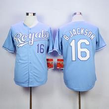 Men KC High Quality 16 Bo Jackson 18 Ben Zobrist Throwback Man blue gray white Jersey(China (Mainland))