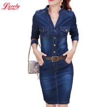 Buy Denim Dress 2016 Autumn Winter V Neck Long Sleeve Bodycon Dresses Elegant Ladies Jeans Casual Vestidos Femininos Belt for $21.84 in AliExpress store