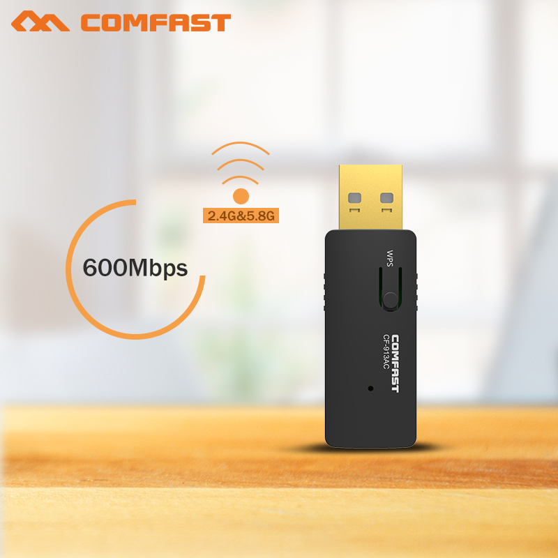 New COMFAST 600Mbps 802.11AC laptop Dual Band 2.4Ghz+5Ghz USB 2.0 Wireless/WiFi AC network Adapter CF-913AC Access point adaptor(China (Mainland))