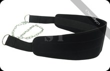 New Black Dipping Belts Weight Lifting Gym Dip Belt Mesh With Metal Chain