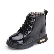 2019 yeni kış çocuk ayakkabıları PU deri su geçirmez Martin çizmeler çocuklar kar botları marka kız erkek lastik çizmeler moda ayakkabı(China)