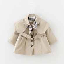 2016 new spring and autumn baby girl clothes fashion casual baby coats girls 6-24 month infant jacket outwear with belt and bow