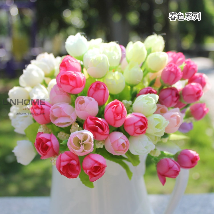 Colorful Fresh Beautiful Small Roses Spring Bud Artificial Flowers Home Decor