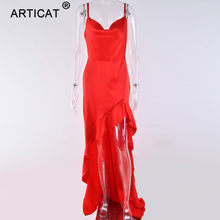 Articat סדיר ראפלס סקסי ארוך מקסי שמלת חג המולד נשים אדום סאטן ללא משענת Bodycon שמלה אלגנטי פיצול המפלגה שמלת 2019(China)