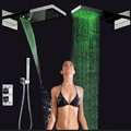 Wholesale And Retail Promotion LED Color Changing Thermostatic Waterfall Shower Faucet With Hand Shower Mixer