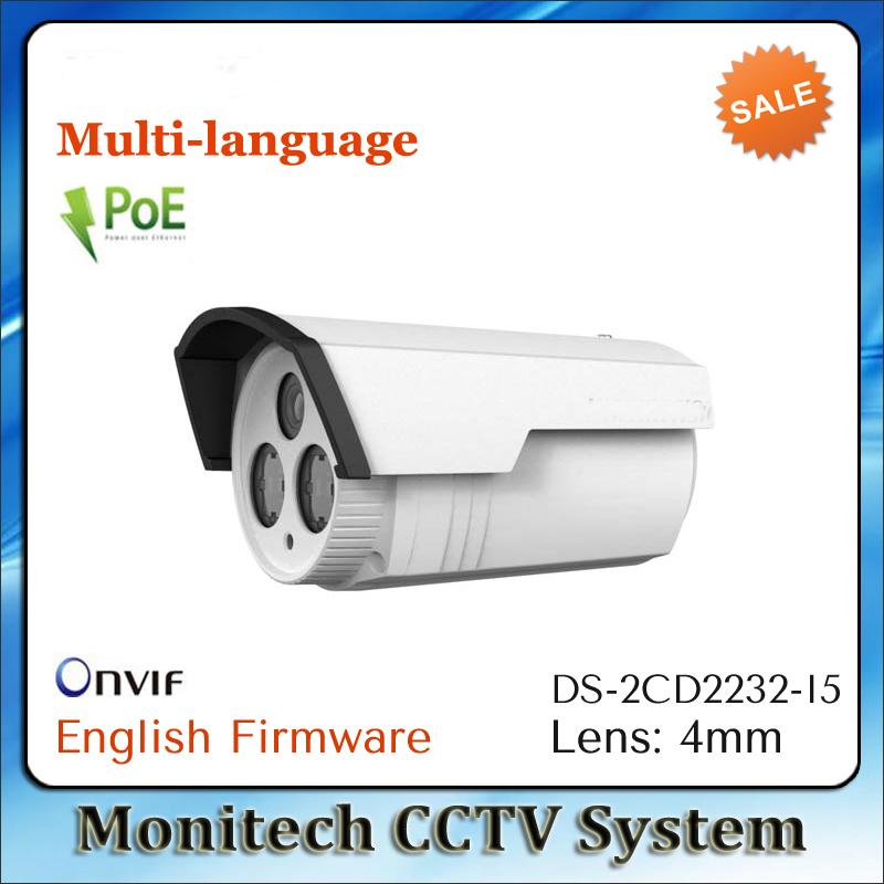Free shipping 4PCS In Stock HIK Multi-language ONVIF DS-2CD2232-I5 POE 3MP IR 50m Outdoor HD 1080P Bullet Network CCTV IP Camera(China (Mainland))