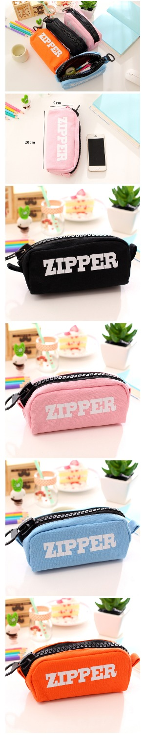 High Quality Simple Stationery Small Fresh Large Zipper Pen Bag Large Capacity Pencil Case Creative Kids Girls School Supplies<br><br>Aliexpress