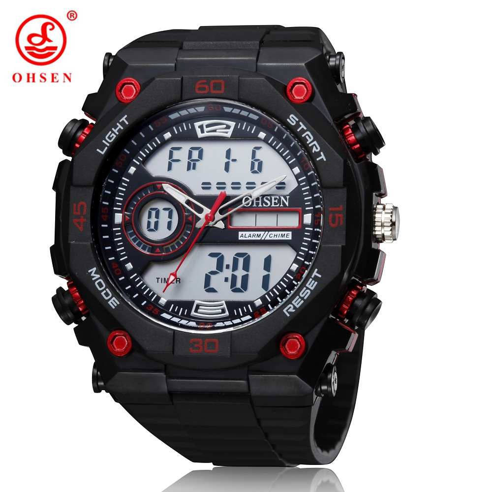 NEW OHSEN Digital Quartz Mens Watch Gifts Red Fashion Rubber Band LCD Outdoor Sport Wristwatch Male Hand Clocks - YIMI FASHION WATCH STORE store