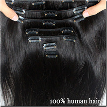 7A Full Head Clip In Natural Hair Clip In Human Hair Extensions 8pieces/set Brazilian Virgin Hair Clip in Extensions Straight(China (Mainland))