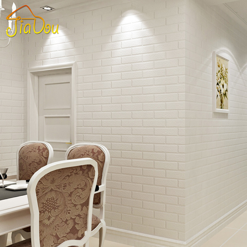 Off White 3D Modern Design Brick Wallpaper Roll Vinyl Wall Covering Wall Paper For Living Room Dinning Room Store Background(China (Mainland))