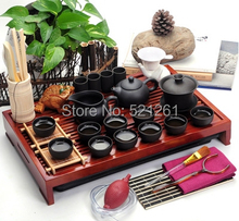 31pcs/set Yixing Ceramic Kung Fu Tea Set Solid Wood Tea Tray Teapot purple clay Tea Suit