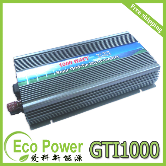 DHL / FEDEX free shipping 1000W on grid tie solar inverter pure sine wave DC10.5-28V(China (Mainland))