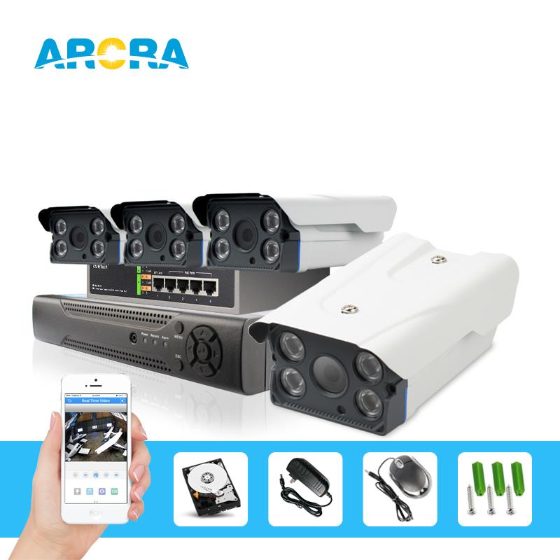 2.0MP HD POE cameras System 4pcs 1080P bullet cameras night vision motion detection 8ch nvr with 2TB hdd(China (Mainland))