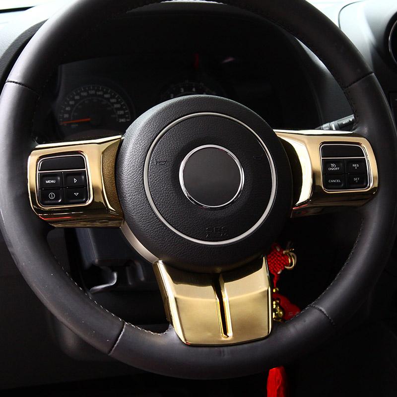 ABS Golden Chrome Covers for Jeep Wrangler JK Chromed Trims Steering Wheel Decoration Door Handle Gear Shift Speaker Light Cover