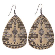 Vintage Bohemian Style Pattern Waterdrop Bronze Dangle Hook Women / Lady Earrings Ethnic Popular Earrings(China (Mainland))