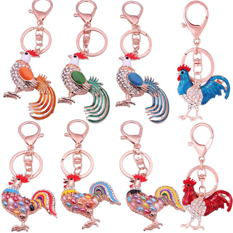 Hansel & Wang New Rooster Cock Keychain New Year Gift Bag Charm Key Chain Ring Metal Animal Key Holder Fashion Jewelry 2KC22(China (Mainland))