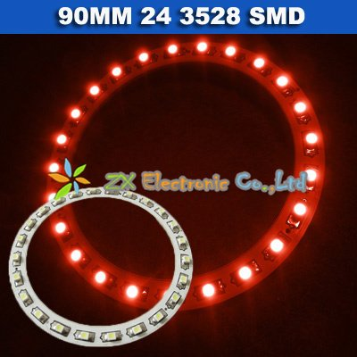 Free shipping + Wholesale + 5 pair /lot + Car angel eyes halo rings light 90mm 24 3528 1210 SMD led lamp red color(China (Mainland))