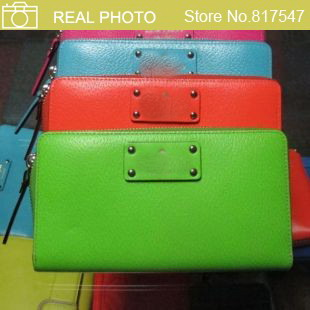 Здесь можно купить  H1883 fashion wellesley neda candy color Genuine real leather zip wallet Drop shipping Free shipping wholesale  Камера и Сумки