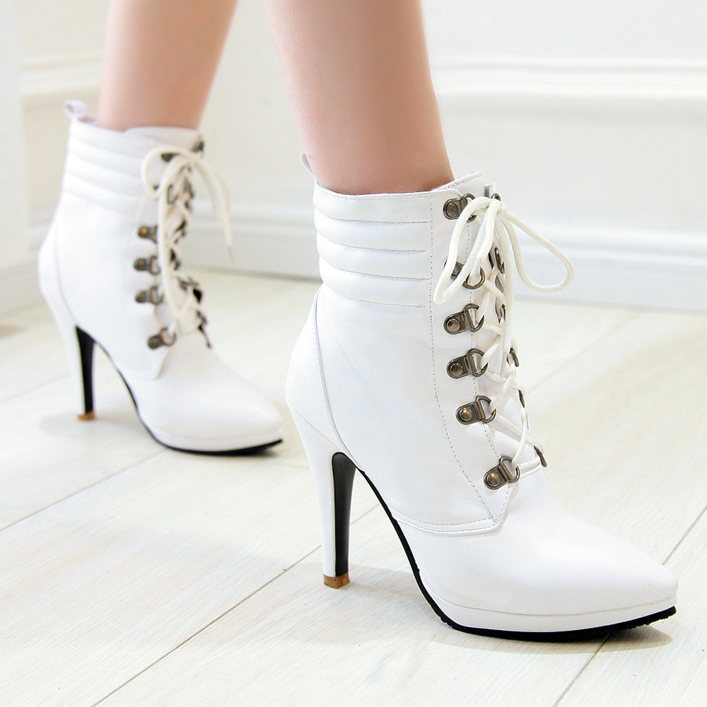 White Lace Up High Heel Boots