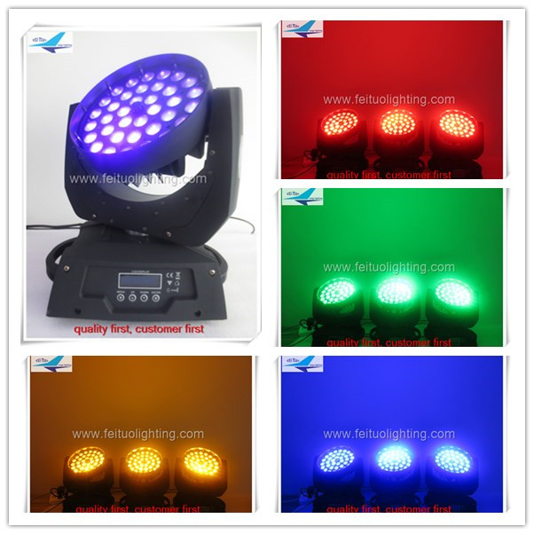 Free shipping 2 pieces with flight case zoom moving head 36x18w rgbwa uv moving head wash(China (Mainland))