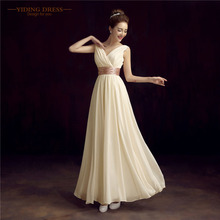 Mother Of The Bride Dress Double-Shoulder Simple Solid Color Pleat Chiffon Fromal Long Evening Dresses(China (Mainland))