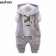 Buy 2017 spring baby Boys Clothing Sets Coat Jacket+T Shirt+Pants 3Pcs Children Sport Suits Cartoon Minion Kids Clothes 0-24M for $13.99 in AliExpress store