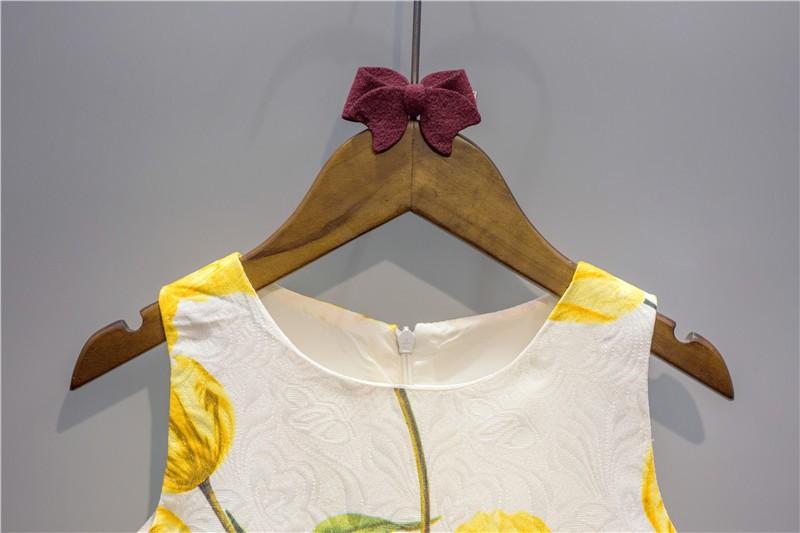 tulip flower print kids clothes girls 2016 autumn new baby girls party dress yellow dress+jacket children clothing for wedding