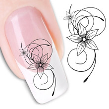 Water Transfer Nail Art Stickers Decal Beauty Elegant Black Lace Star Flowers Design DIY French Manicure Foils Stamping Tools