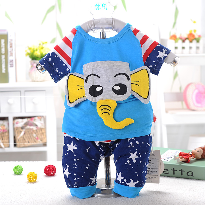 2015 Hot Summer Baby Children Short Active Kid Boys T-shirt+pants Elephant Undershirt Shorts O-neck Pullover Clothing Set(China (Mainland))